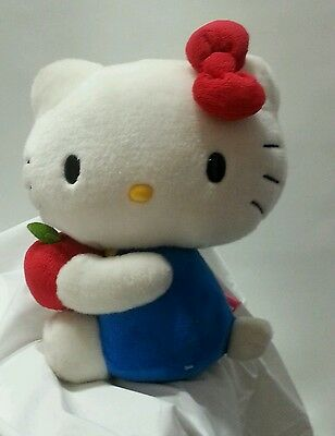 HELLO KITTY Plush Doll Holding Red Apple By Sanrio - 10'' high - White Cat