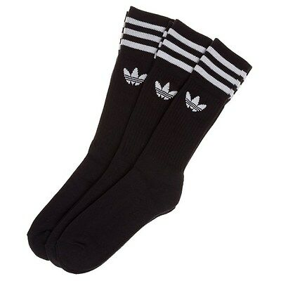 New Mens adidas Black 3 Pack Solid Crew Cotton/Polyester Socks