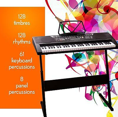 Electronic Keyboard Musical 61 Key Full Size Piano Digital Instrument & Stand