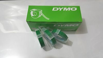 3 rolls x Dymo 3D embossing tape labels 9mm x 3m inGREEN  *Great Sales FreeShip