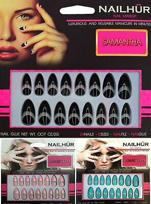 Nailhur Stiletto Samantha - Almond Fake Press Glue On Nail Pink Blue Black Tips