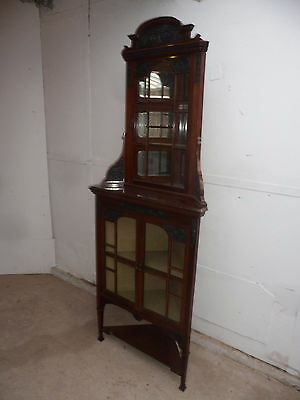 A Top Quality 2 Piece Edwardian Mahogany Mirrored Corner Cabinet