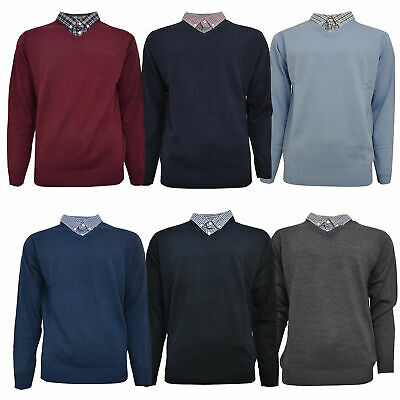 Pierre Cardin Mens New Season V-Neck Knitted Jumper with Mock Shirt Collar