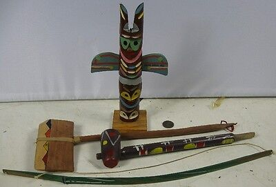 Vintage 1930's-40's Indian Totem Pole Hatchet Bow Piece Pipe Manitou Springs, CO