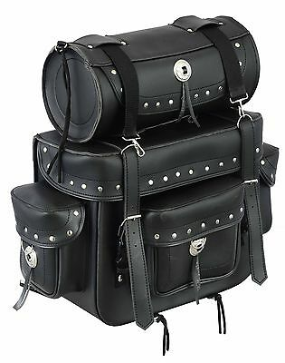 Genuine Leather Motorbike Saddle Luggage Bag panniers with Tool Roll Box Touring