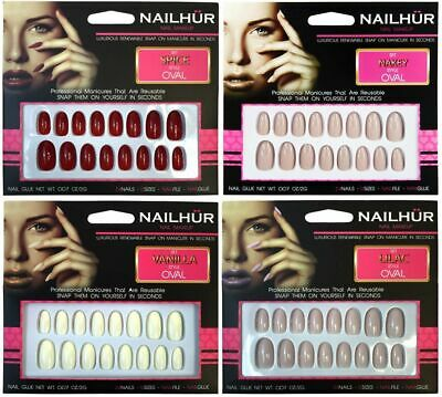 Nailhur Oval - Creme #1 Reusable Fake Press Glue On Nails Tips Nude Lilac Red