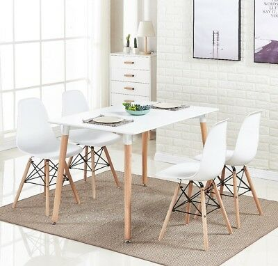 White Eiffel Halo Dining Set Table Rectangle Large + 4 Chairs Moda Wooden Modern