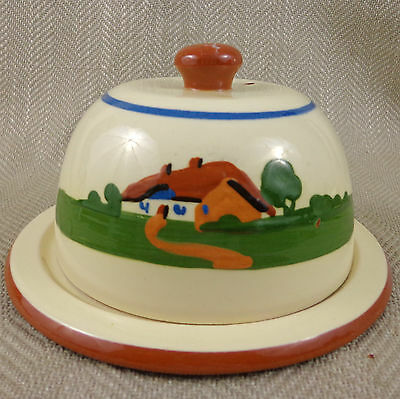 Vintage Cheese Butter Dome Cloche Plate Board Torquay Pottery Hand Painted Motto