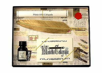 Coles Calligraphy Feather Quill and Nibs Set - Gold