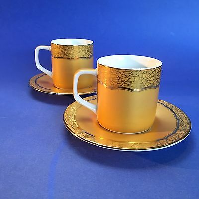 2 X Rare 2003 Nescafe Special Addition Gold Cups And Saucers