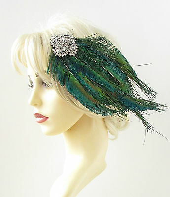Silver Green Peacock Feather Headpiece 1920s Fascinator Hair Clip Vintage 843