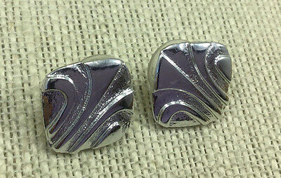 Vintage Style Earrings Silvertone etched Cast metal square Pierced Post