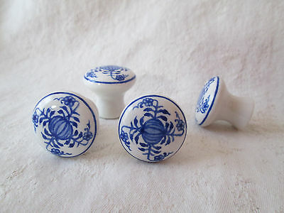 BLUE DANUBE Drawer Pulls ~ BLUE ONION Hand Painted Cobalt Blue & White Knobs