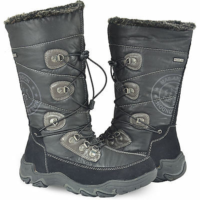 Girls Black Long Warm Winter Snow Boots Fur Lined Zip Size Uk 13-6 New