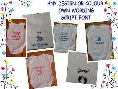 Personalised embroidered Baby gift  VEST your choice design wording and colour