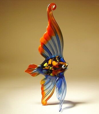 Blown Glass Art Figurine Blue and Red ANGELFISH Fish - Standing or Hanging