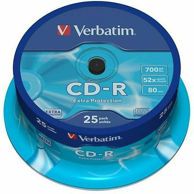 Verbatim 80 Minute 700MB Non Print Blank CDR Discs (spindle of 25)