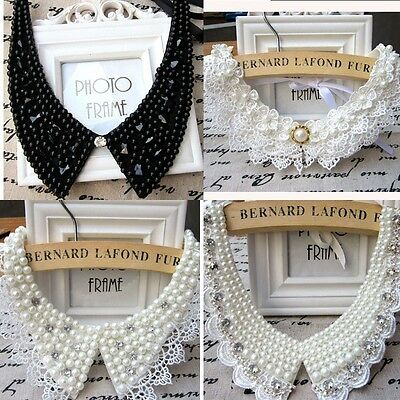 Vintage Lace Beaded Women Collar Accessory Preppy Chic Necklace Classic Pearl