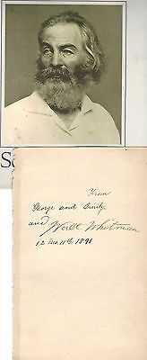 Highly Renowned, Influential Poet Walt Whitman -- His Autograph