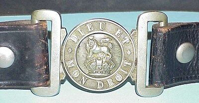 Great War (WWl) British Silver Over Brass Buckle & Belt, UK Lion & Kings Crown