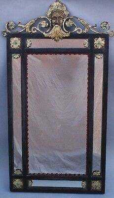 1 of 2 1920s Large Scale Oscar Bach Wall Mirror Antique Iron & Bronze (9602)