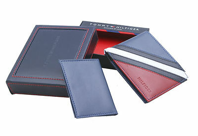 New Men's Tommy Hilfiger Leather Wallet Bifold 31Tl22X051 Red/navy