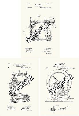 Three Sewing Machine Patent Prints Reproductions