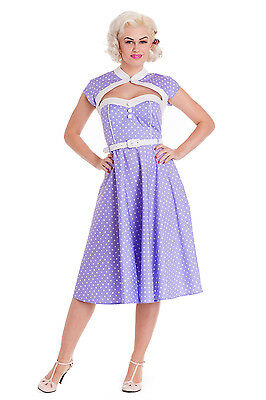 Purple White Polka Dots  Rockability 50's Swing Below Knee Strictly Dancing