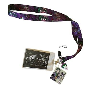 DC's The Joker Haha Lanyard Keychain ID Holder with Joker Screen Cleaner Charm