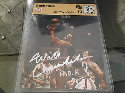Wilt Chamberlain 1977 Editions 5X7 Auto Autograph Real