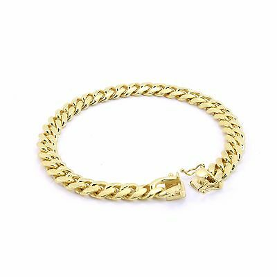 925 Sterling Silver 14K Plated Solid Cuban Link Bracelet 8mm-12m made in italy