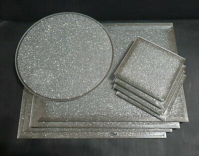 New SILVER shimmer  mirrored glass placemats and coaster set CONTEMPORARY