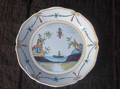 French Antique Faience Plate 1800s Man Fishing Napoleon Bee Mantique Estate RARE