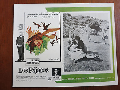 THE BIRDS Original Mexican Lobby Card Movie Poster Alfred Hitchcock Horror
