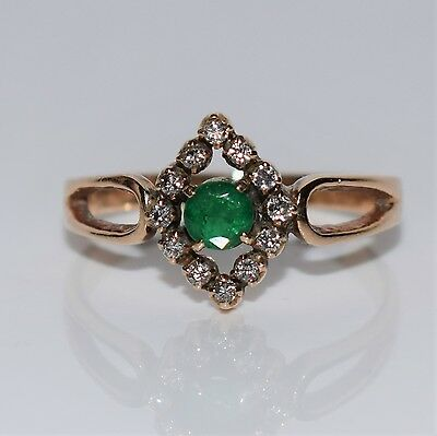Antique 18ct GOLD Emerald Diamond Ring size N ~ 6 3/4