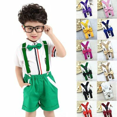 Cute Kids Design Suspenders and Bowtie Bow Tie Set Matching Ties Outfits#F