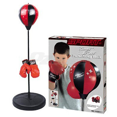 Kids Punching Bag Boxing SpeedBall Speed Training Stand Toy with Gloves Pump Set
