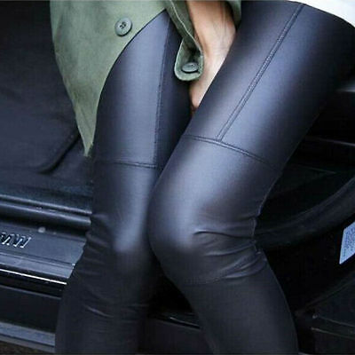 New Women's Long Trousers Faux Leather Leggings Pencil Pants High Waist Jeggings