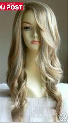 Blonde Wavy Curly Long Women Lady Heat Resistant Cosplay Full Hair Wig