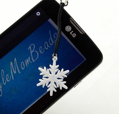 Unique Sparkle White Snowflake Headphone Dust Plug for Android or Iphone