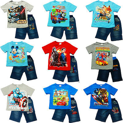 NEW Sz 1~12 KIDS BOYS T-SHIRTS TOP TEES SHORTS SUMMER OUTFITS CARS MINION BATMAN