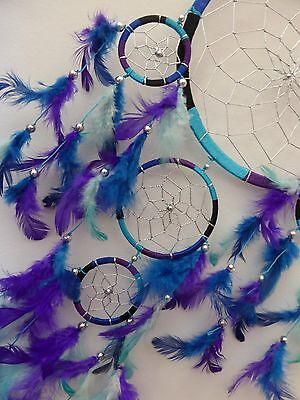 Sweet Large Blue/aqua/black/purple Dream Catcher 22 Cm Main Web 68 Cm Total Drop