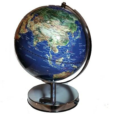 STUNNING LED Blue World Globe Table Lamp Home Decor Wedding Gift 32 x 25cm