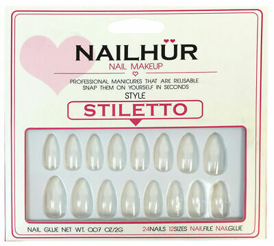Nailhur - Stiletto - Clear Almond Press On Nail Manicure Tips Kit with Glue