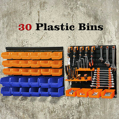 New 30 Plastic Bins Wall Mounted Storage Garage Tools Small Parts Organizer Rack