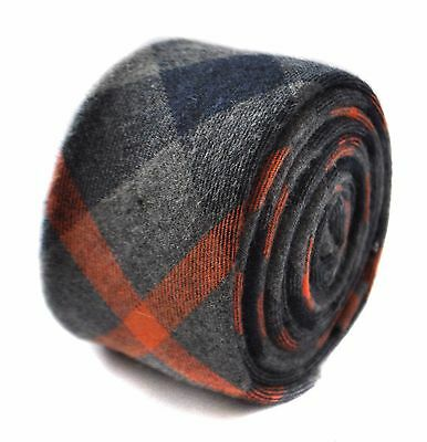 Frederick Thomas skinny mens wool tweed tie in orange and grey check FT1817
