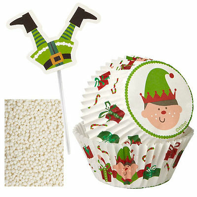 Wilton Christmas Cupcake Decorating Kit Elf  Baking Cups NEW