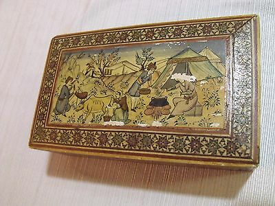 Antique Old Rare Wood Persian Hand Painted  Small Size Trinket Box