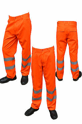 Orange Hi Viz Visibility Work wear Cargo Trousers Pants Railway Highway trousers