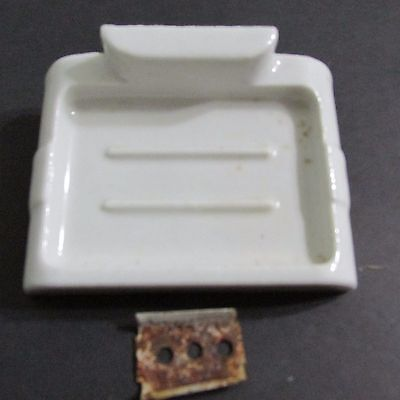 Antique White Porcelain Bathroom Soap Dish w/ Hardware